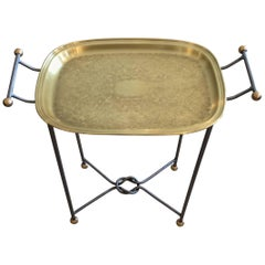 Sophisticated Brass and Steel Tray Occasional Side Table