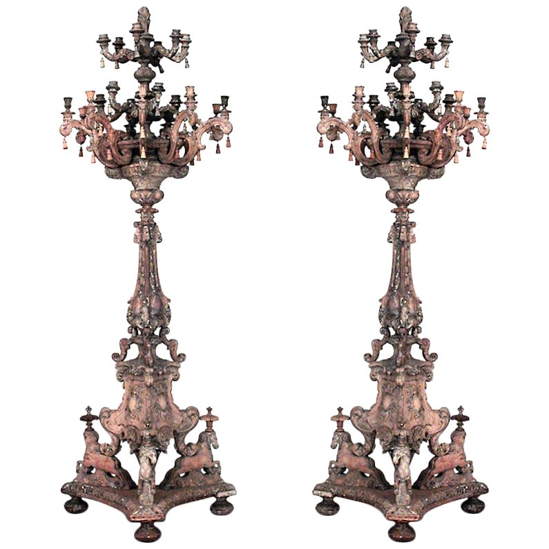 19th Century Pair of Italian Baroque Style 24-Arm Torchieres