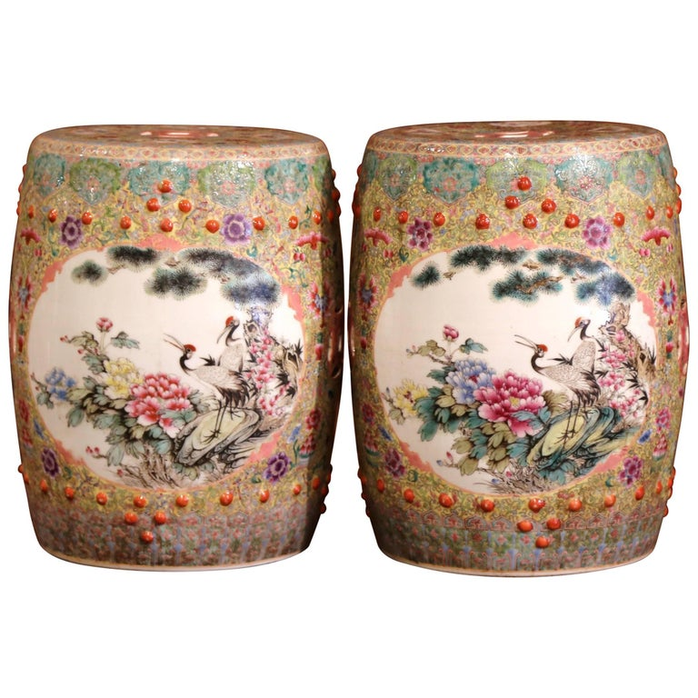 Pair of Mid-20th Century Chinese Famille Rose Porcelain Garden Seats