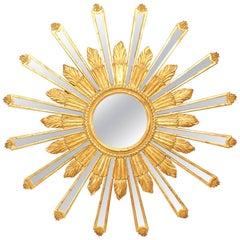Italian Neoclassic Style Gilt Sunburst Design Wall Mirror