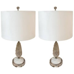 Rock Crystal Lamps with Sterling Plated Detail, a Pair