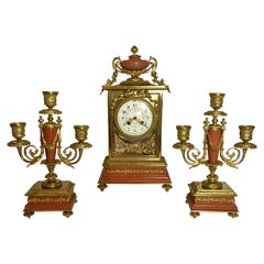 Antique French Louis 16th Marble and Bronze Clock Set, circa 1870