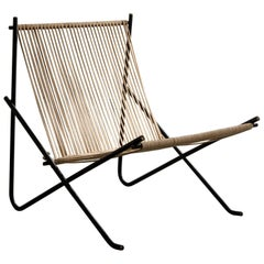 """Holscher"" Chair with Welded Steel Tube Frame and Natural Halyard Seat and Back"