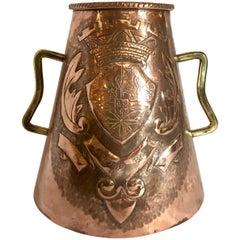 Antique Copper and Brass Tankard, circa 1890