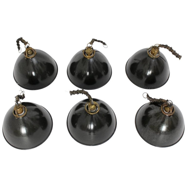 Bauhaus Black and White Email Hanging Lamps 1920s Germany Set of Six