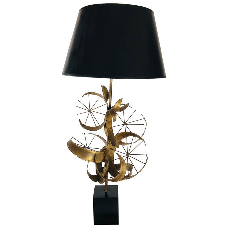 Curtis Jere Brass Brutalist Lamp