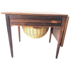 Johannes Andersen Rosewood Danish Modern Drop-Leaf Side Sewing Table