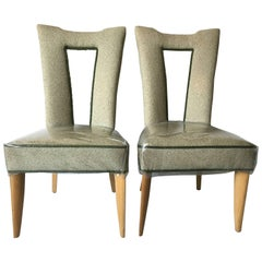 Paul Laszlo Brown Saltman Cut-Out Back Occasional Side Dining Chair Set
