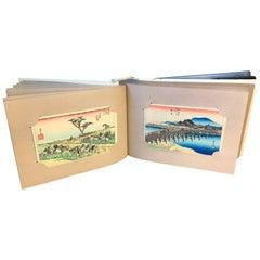 Japan Complete Album Full 55 Old Woodblock Print Postcards Ukiyoe Tokaido Road