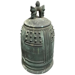 Japanese Antique Cast Bronze Temple Bell with Prolific Signed Dedication