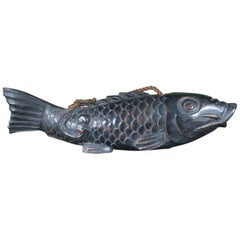 Japanese Huge Antique Hand-Carved Wood Koi Good Fortune Fish, 19th Century