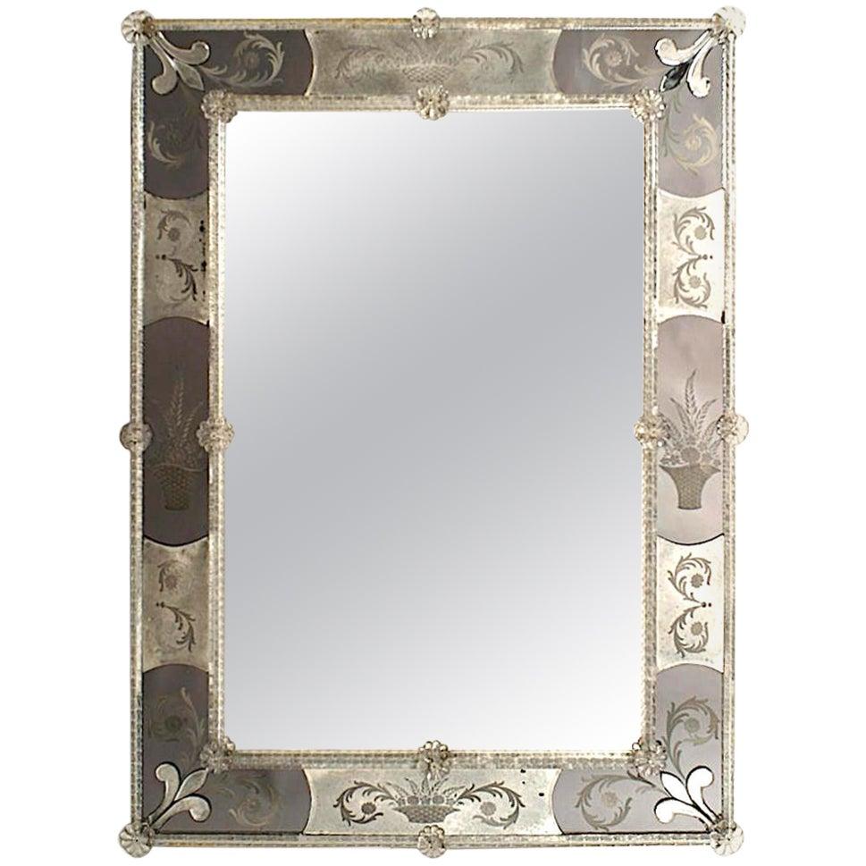Italian Venetian 1930s Murano Rectangular Dark Glass Mirror