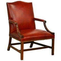 Good 19th Century Mahogany and Red Leather and Nailhead Trimmed Lolling Chair