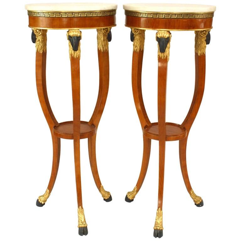 Pair of Italian Neoclassic Style '20th Century' Fruitwood Three Legged Pedestals