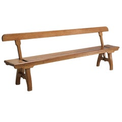 Antique Country Pine Bench with Adjustable Back
