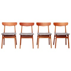 Set of Four Danish Dining Chairs by Farstrup in Teak and Beech, 1960s
