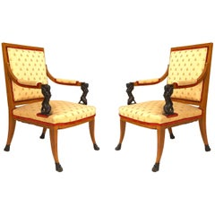 Pair of Italian Neoclassic Style '19th Century' Open Armchairs