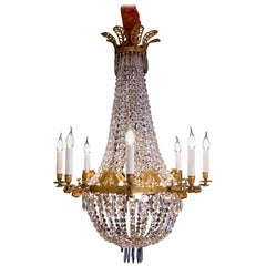 Early 20th Century Style Empire Chandelier in Gilt-Bronze and Crystal circa 1900