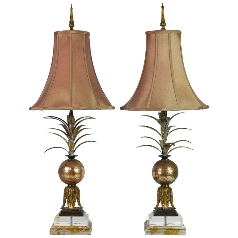 Pair of Vintage Tropical Themed Distressed Gilt Table Lamps by John Richard