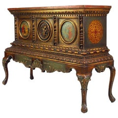 Italian Renaissance Style Polychromed and Parcel-Gilt Chest on Stand