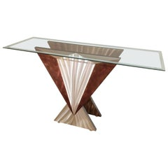 Mid-Century Modern Art Deco-Esque Brushed Steel Console Table