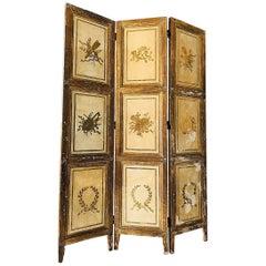 Rare Italian Gilt Florentine Folding Screen or Room Divider