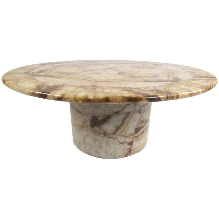 Vintage Circular Coffee Table in Stone Finish