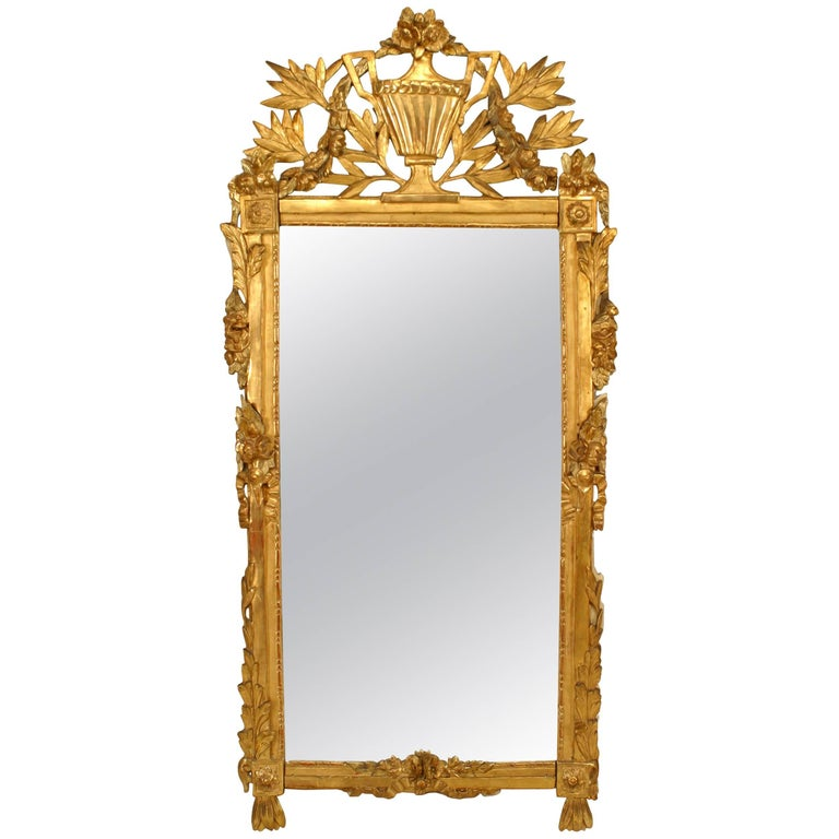 Italian Neoclassic '18th Century' Gilt Carved and Cream Painted Wall Mirror