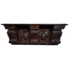 Antique Italian Renaissance Style Architectural Hand Carved Shelf Circa 1840