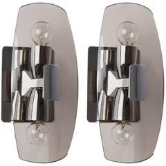 Chrome and Smoked Glass Mid-Century Modern Sconces, circa 1970