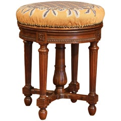 19th Century French Louis XVI Carved Walnut Round Adjustable Swivel Piano Stool