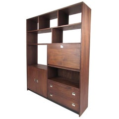 Vintage Modern Walnut Bookcase or Room Divider