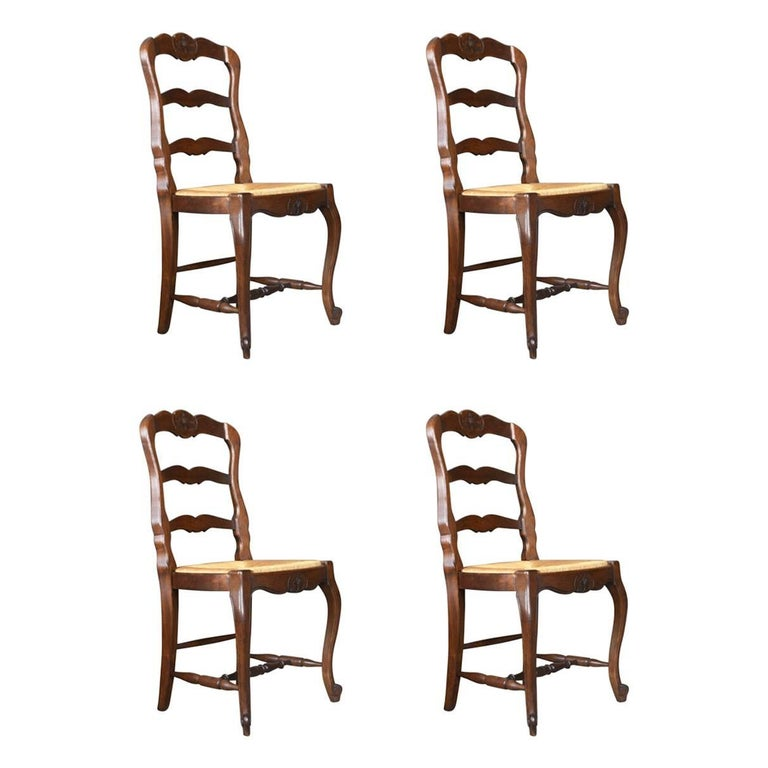 Set of Four Antique Kitchen Chairs, French Country Dining, circa 1900 For  Sale - Set Of Four Antique Kitchen Chairs, French Country Dining, Circa