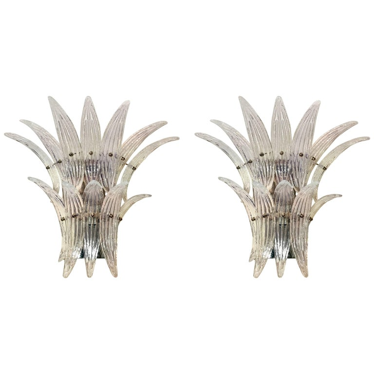 Pair of Barovier e Toso Style Murano Glass Palmette Sconces