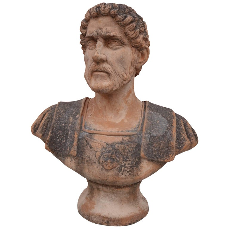 Antique Italian Renaissance Style Old Impruneta Terracotta Emperor Caesar Bust