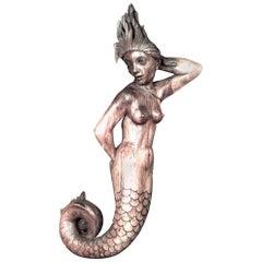Italian 'Art Deco' Mermaid Figure Stripped Wood Wall Plaque