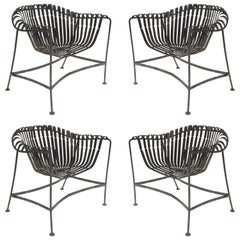 Set of Four American Midcentury '1960s' Black Enameled Iron Outdoor Armchairs