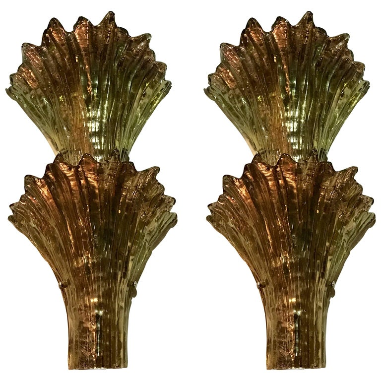 Two Pairs of Midcentury Italian Barovier & Toso Style Glass Sconces