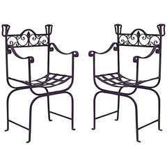 Pair of Outdoor Continental Style '20th Century' Iron Scoop Seat Armchairs