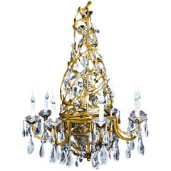 Louis XVI Style Gilt and Rock Crystal Chandelier in Style of Baguès