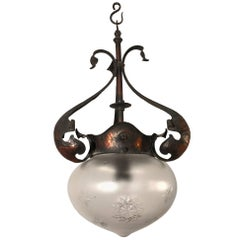 Antique and Great Design, Arts & Crafts Hammered Copper and Glass Pendant Light