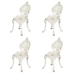 Set of Four Outdoor American Victorian Painted Iron Side Chairs