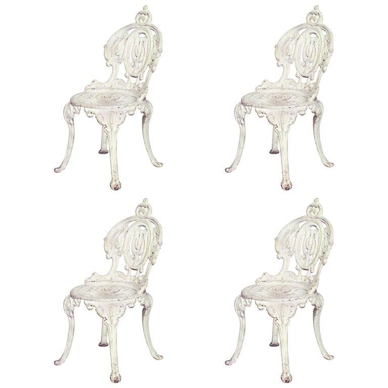 Set of Four Outdoor American Victorian Side Chairs