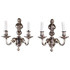 Pair of American Louis XVI Style Silvered Sconces Attributed to E.F. Caldwell