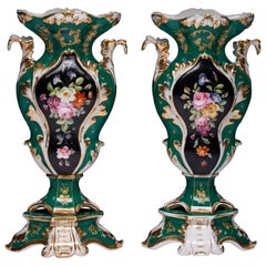 Pair of Old Paris Rococo Vases on Stands, Green in Color