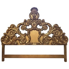 Ornate Architectural Italian Gold Hand-Carved Sculptural King-Size Headboard