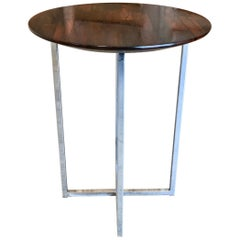 Rosewood Parquet Top with Chrome X-Base Side Table
