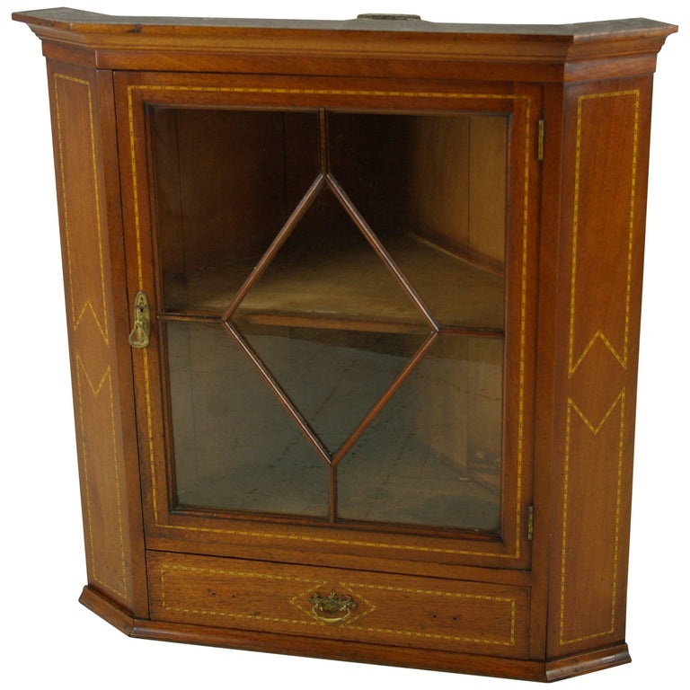Antique Mahogany Corner Cabinet, Hanging Corner Cabinet, Victorian, 1890  REDUCED - Antique Hanging Mahogany Corner Cabinet With Mullion Door For Sale
