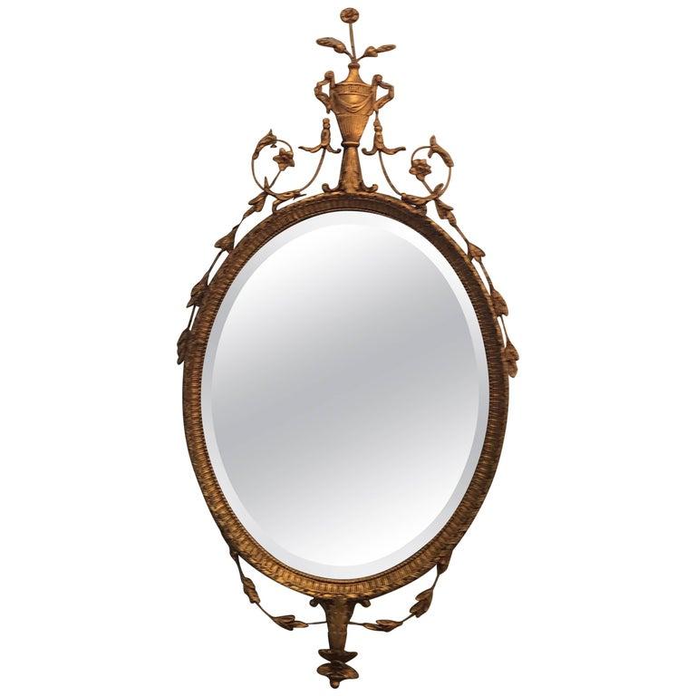 Elegant Adam Style Giltwood Beveled Mirror