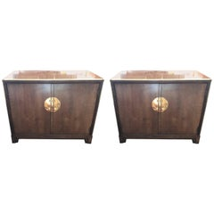 Pair a Baker Furniture Footed Fruitwood Commode